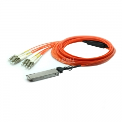 30m(98.4ft) Generic Compatible 40G QSFP+ to 4 Duplex LC Breakout Active Optical Cable