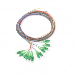 12-fiber LC/APC 9/125 Single-mode Color-Coded Fiber Optic Pigtail