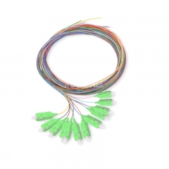 12-fiber SC/APC 9/125 Single-mode Color-Coded Fiber Optic Pigtail