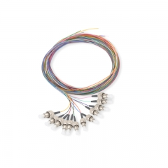 12-fiber FC/UPC 9/125 Single-mode Color-Coded Fiber Optic Pigtail