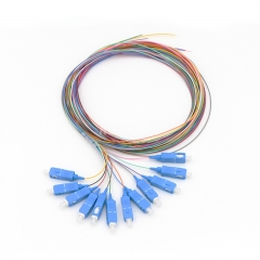 12-fiber SC/UPC 9/125 Single-mode Color-Coded Fiber Optic Pigtail