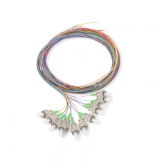 12-fiber FC/APC 9/125 Single-mode Color-Coded Fiber Optic Pigtail