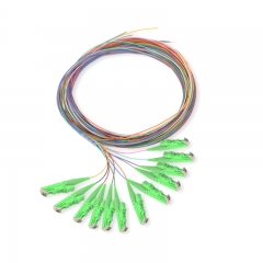 12-fiber E2000/APC 9/125 Single-mode Color-Coded Fiber Optic Pigtail