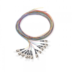12-fiber ST/UPC 9/125 Single-mode Color-Coded Fiber Optic Pigtail