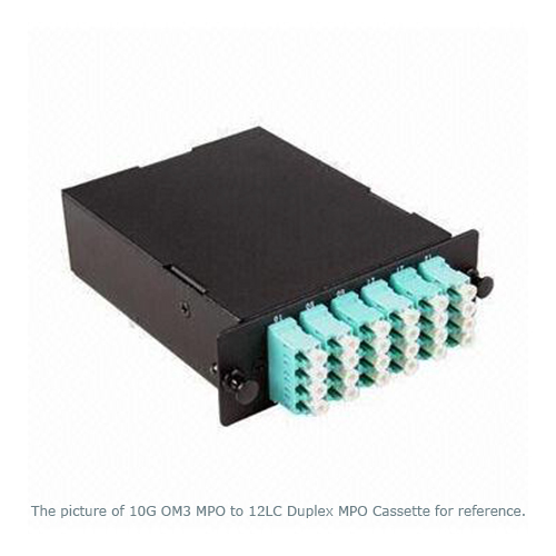 2xMPO Male to 12xLC/UPC Duplex, 24 Fibers 50/125 OM2 Multi-mode MPO MTP Cassette